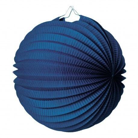 Lampion boule de papier rond bleu marine 20cm