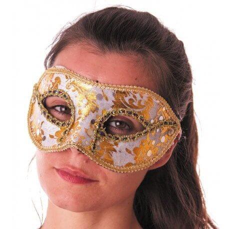 Masque vénitien blanc avec inscription or