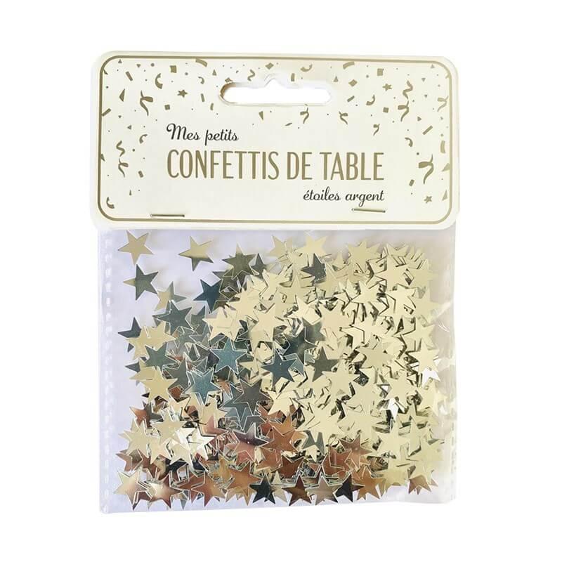 Confettis de table étoiles argent (15gr)