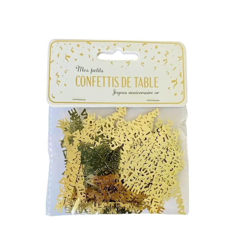 """Confettis de table """"JOYEUX ANNIVERSAIRE"""" or (15gr)"""