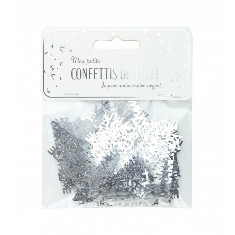 """Confettis de table """"JOYEUX ANNIVERSAIRE"""" argent (15gr)"""