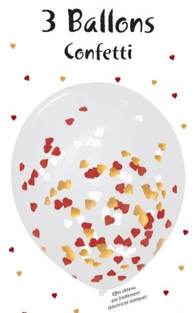 Lot de 3 Ballons Confettis Coeur rouge, blanc & or