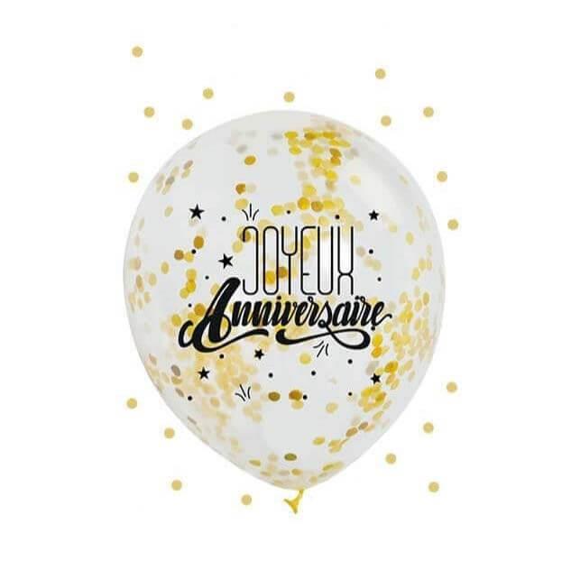 """Lot de 3 Ballons """"Joyeux Anniversaire"""" Confettis Or"""