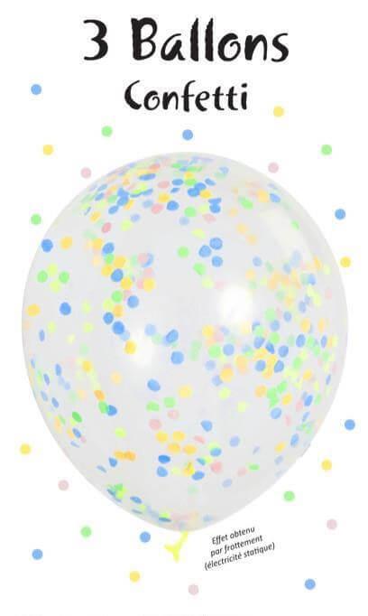 Lot de 3 Ballons Confettis pastel