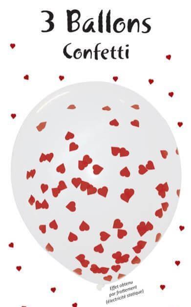 Lot de 3 Ballons Confettis Coeur rouge