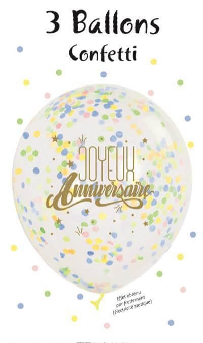 """Lot de 3 Ballons """"Joyeux Anniversaire"""" Confettis Pastel"""