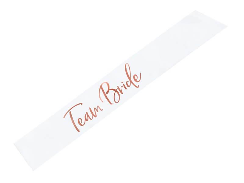 Écharpe blanche avec Team bride Or rose