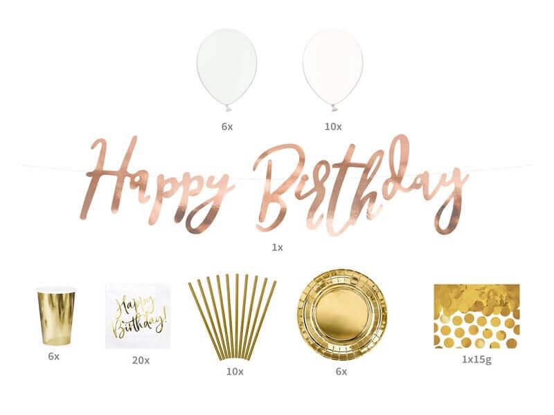 Kit décoration Happy Birthday Or
