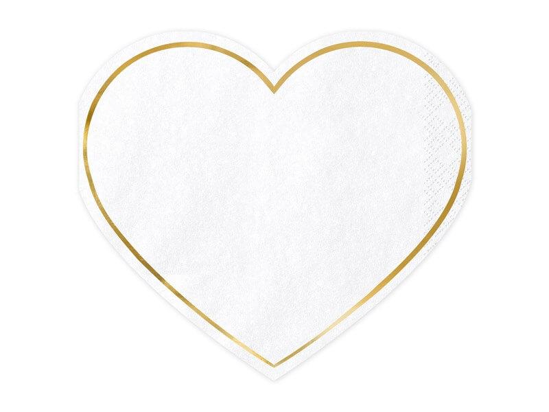 Serviette en papier forme coeur contour or