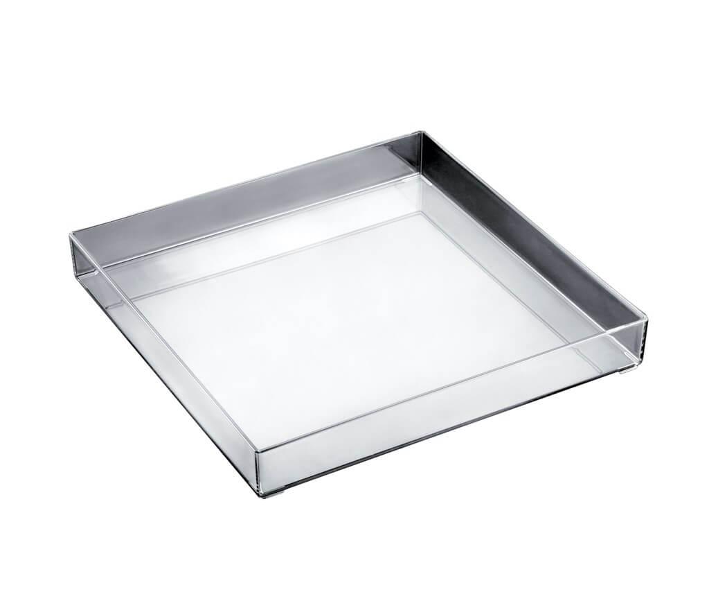 Plateau en plastique transparent carré 30x30cm