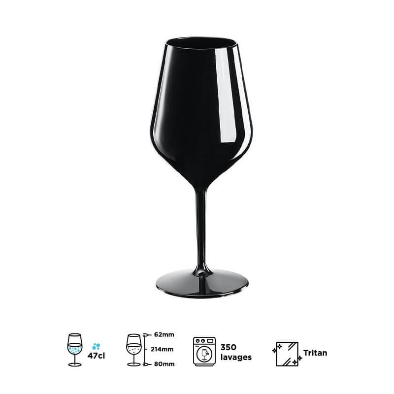 Verre à vin WINE COCKTAIL noir 47cl (Tritan)