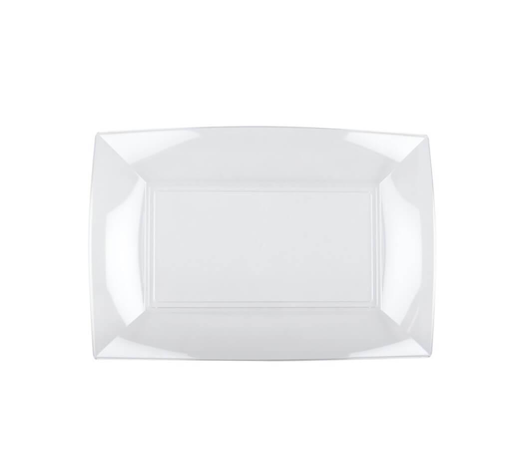 Assiette rectangle transparente 29x18cm - Lot de 12