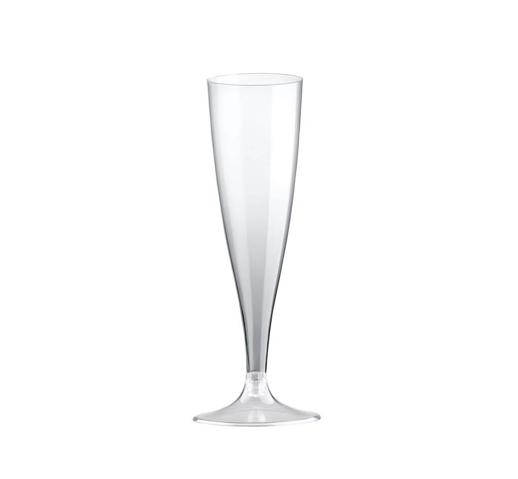 Flûte à champagne 14cl en plastique transparent - Lot de 20