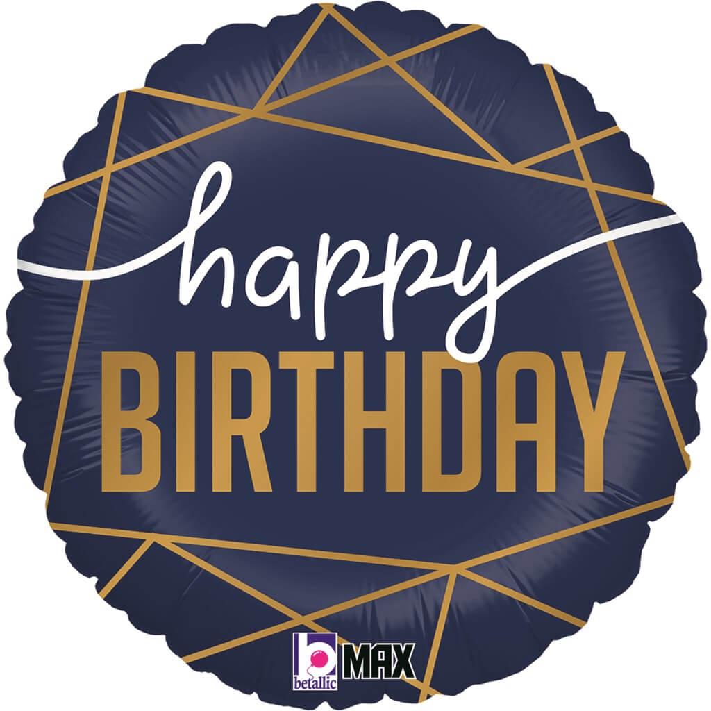 Ballon Happy Birthday Bleu Navy ø 45cm