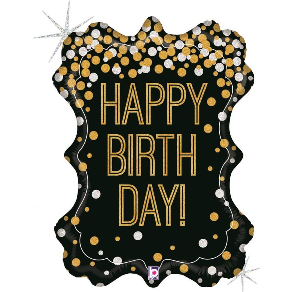 Ballon Happy Birthday Fanion Holographique 86cm