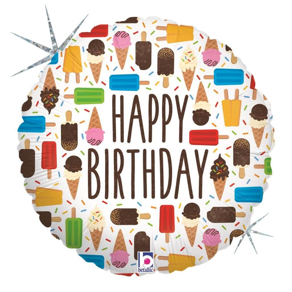 Ballon Happy Birthday Ice Cream 91cm
