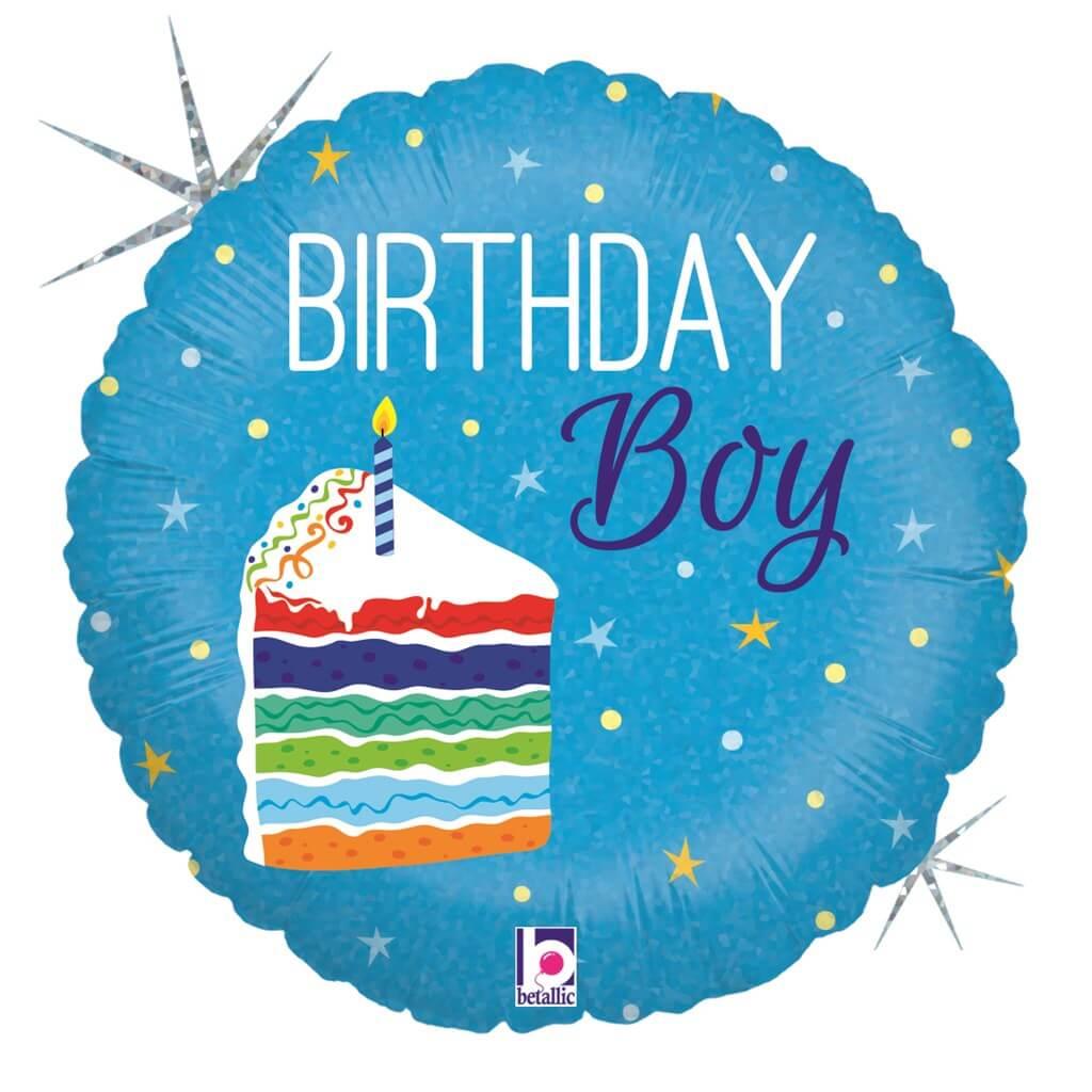 Ballon Birthday Boy bleu ø45cm