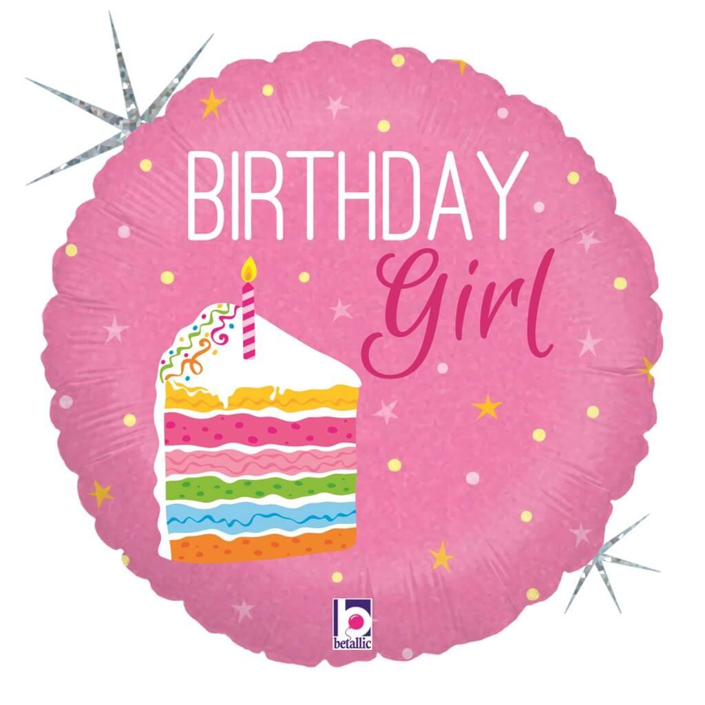 Ballon Birthday Girl rose ø45cm