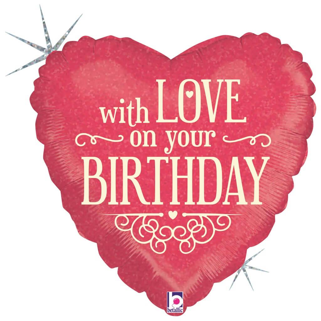 Ballon Coeur With Love on Your Birthday 45cm