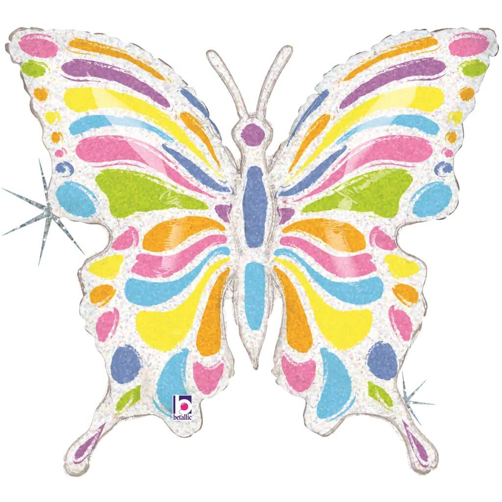 Ballon Papillon Pastel Holographique Multicolore 84cm