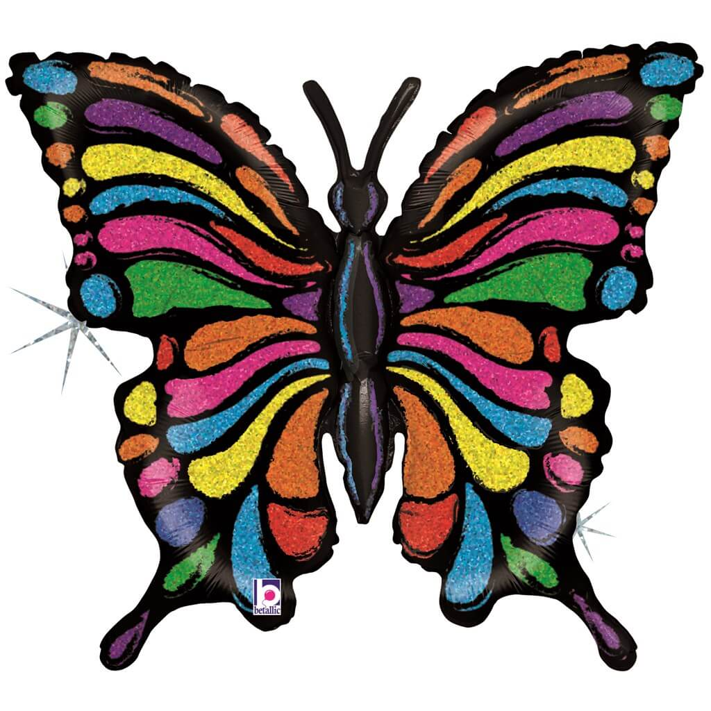 Ballon Papillon Rainbow Holographique 84cm
