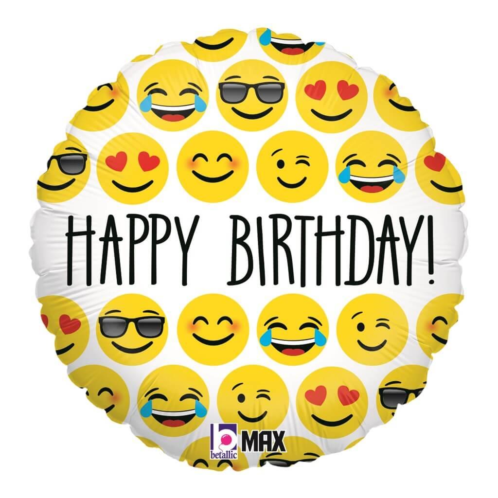 Ballon Emoji Happy Birthday 45cm