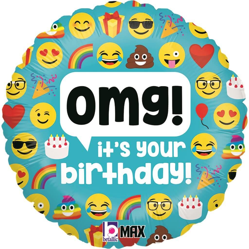 Ballon Emoji OMG Birthday ø45cm