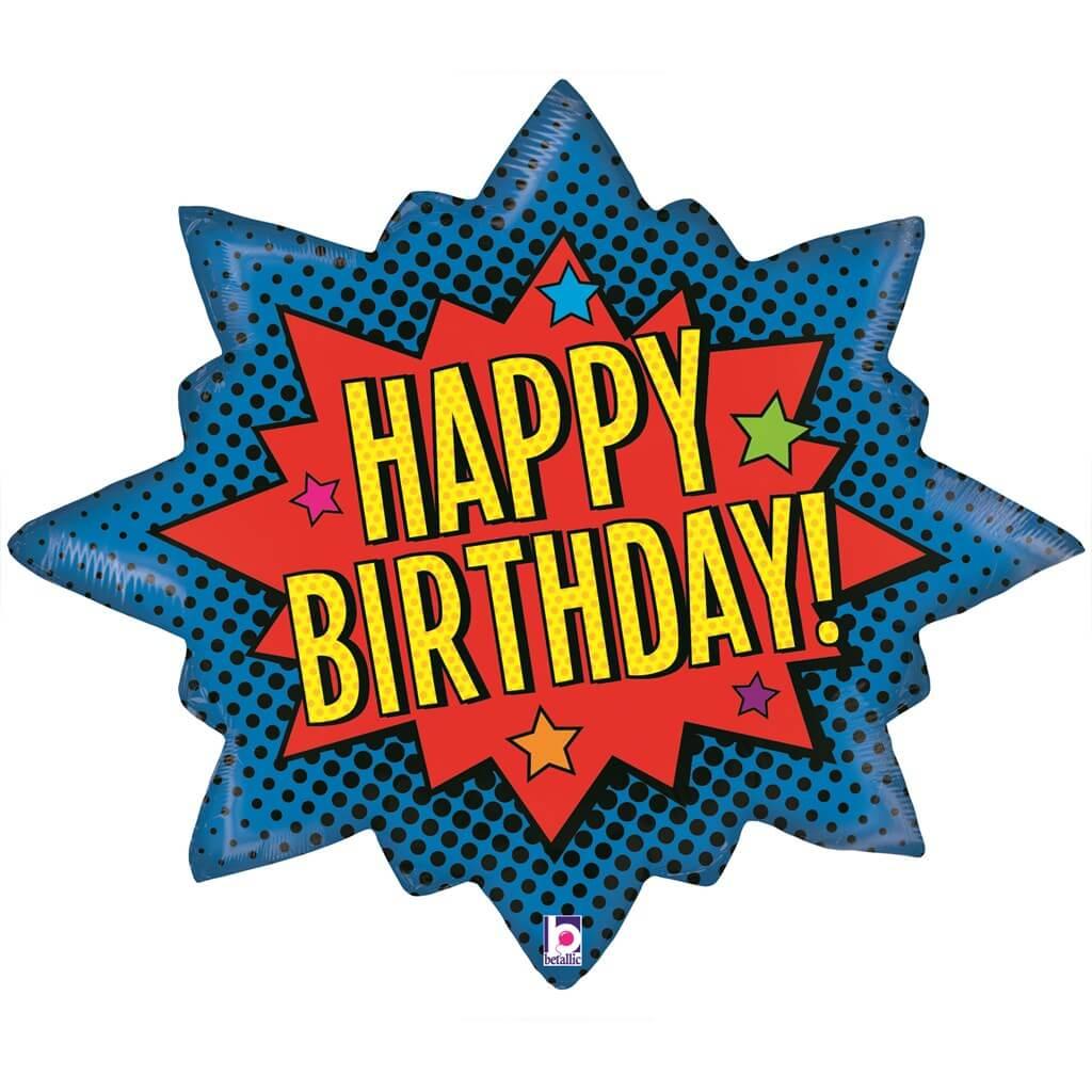 Ballon Happy birthday Super Héros 89cm