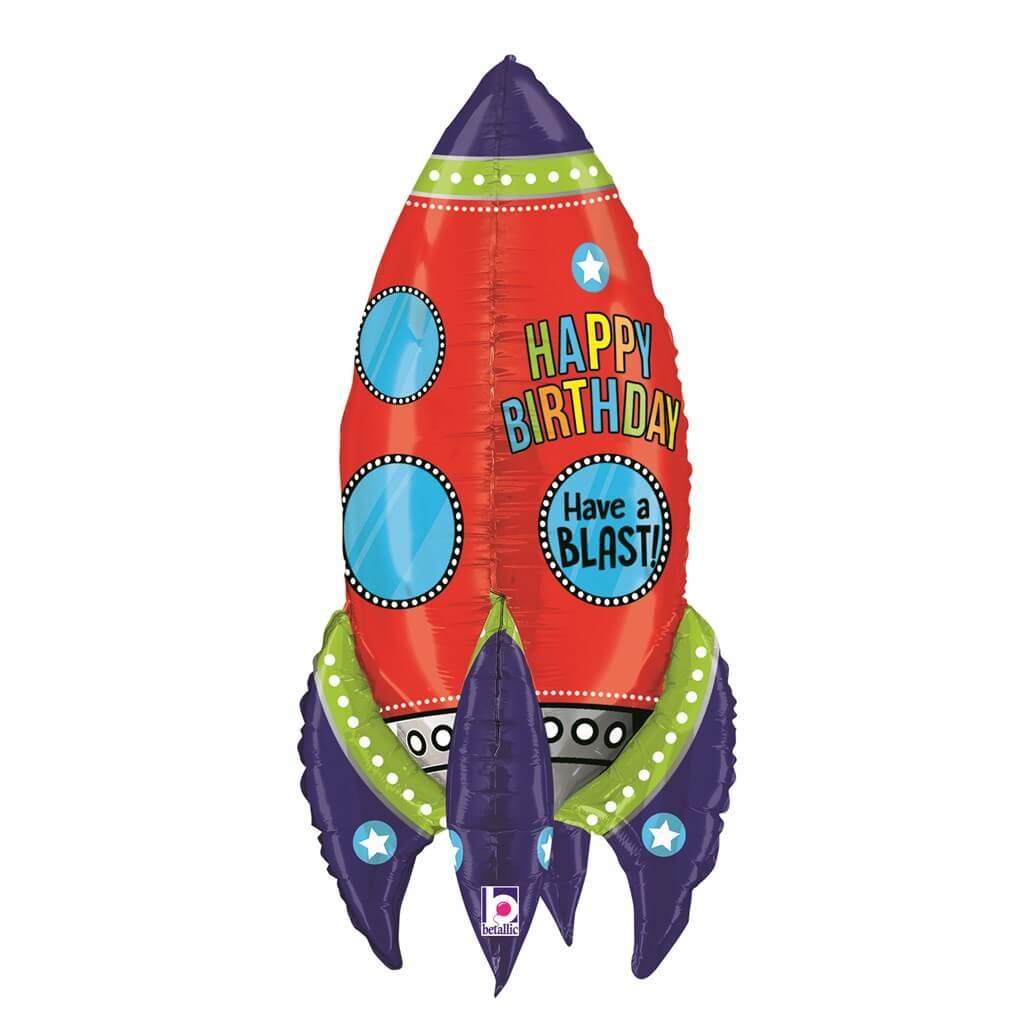 "Ballon Fusée Géant ""Happy birthday"" 91cm"