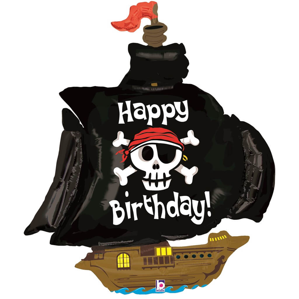 Ballon Bateau Pirate Happy Birthday 117cm