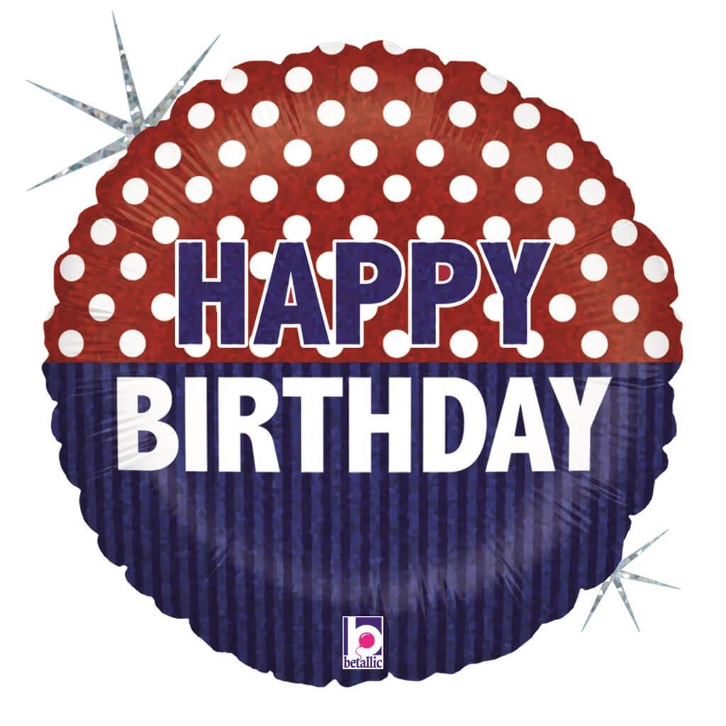 Ballon Happy Birthday à pois ø 45cm