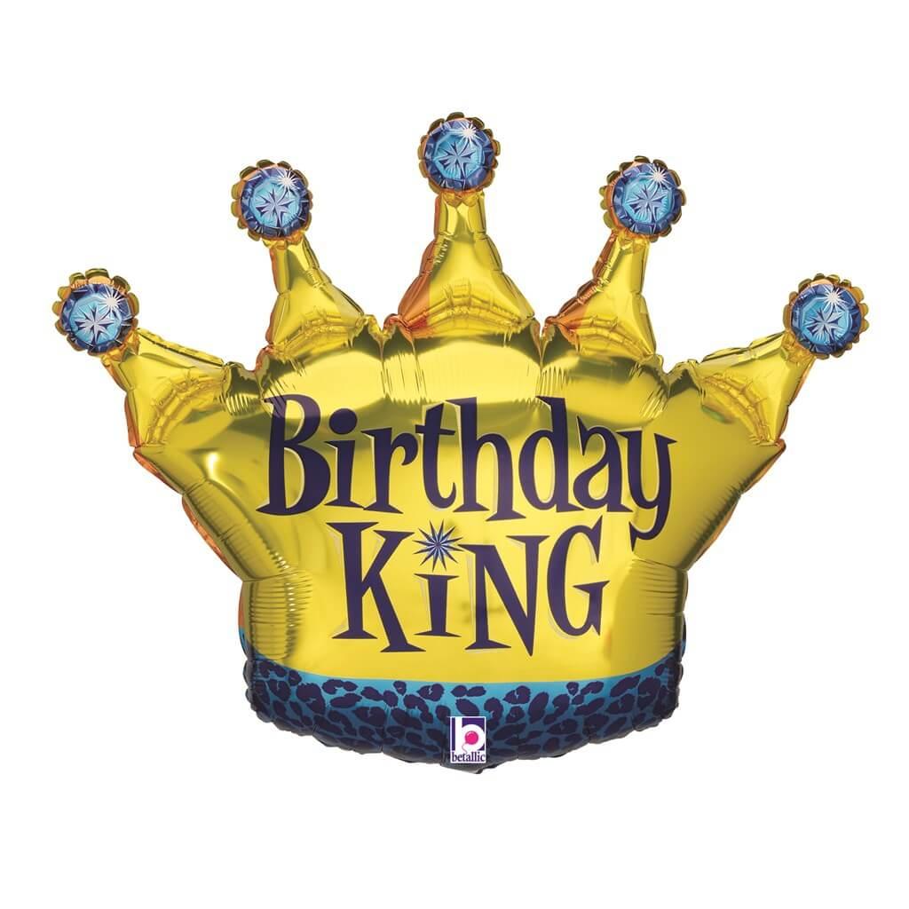 Ballon Birthday King forme couronne 91cm