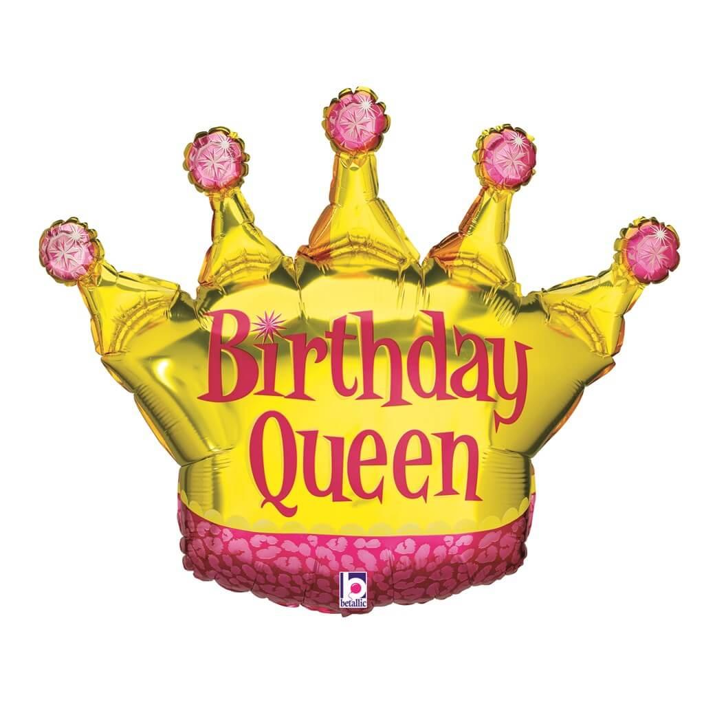 Ballon Birthday Queen forme couronne 91cm
