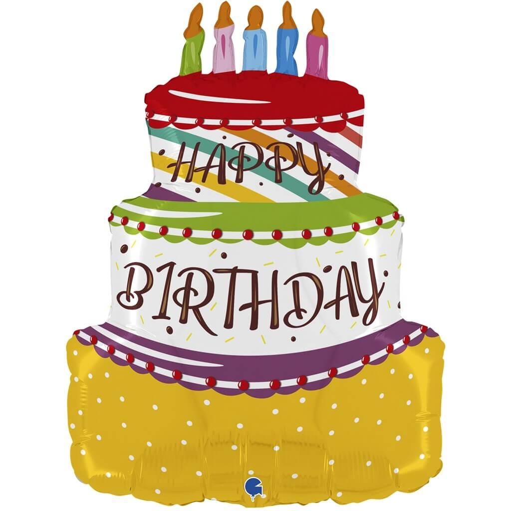 "Ballon ""Happy Birthday"" en forme de gâteau"