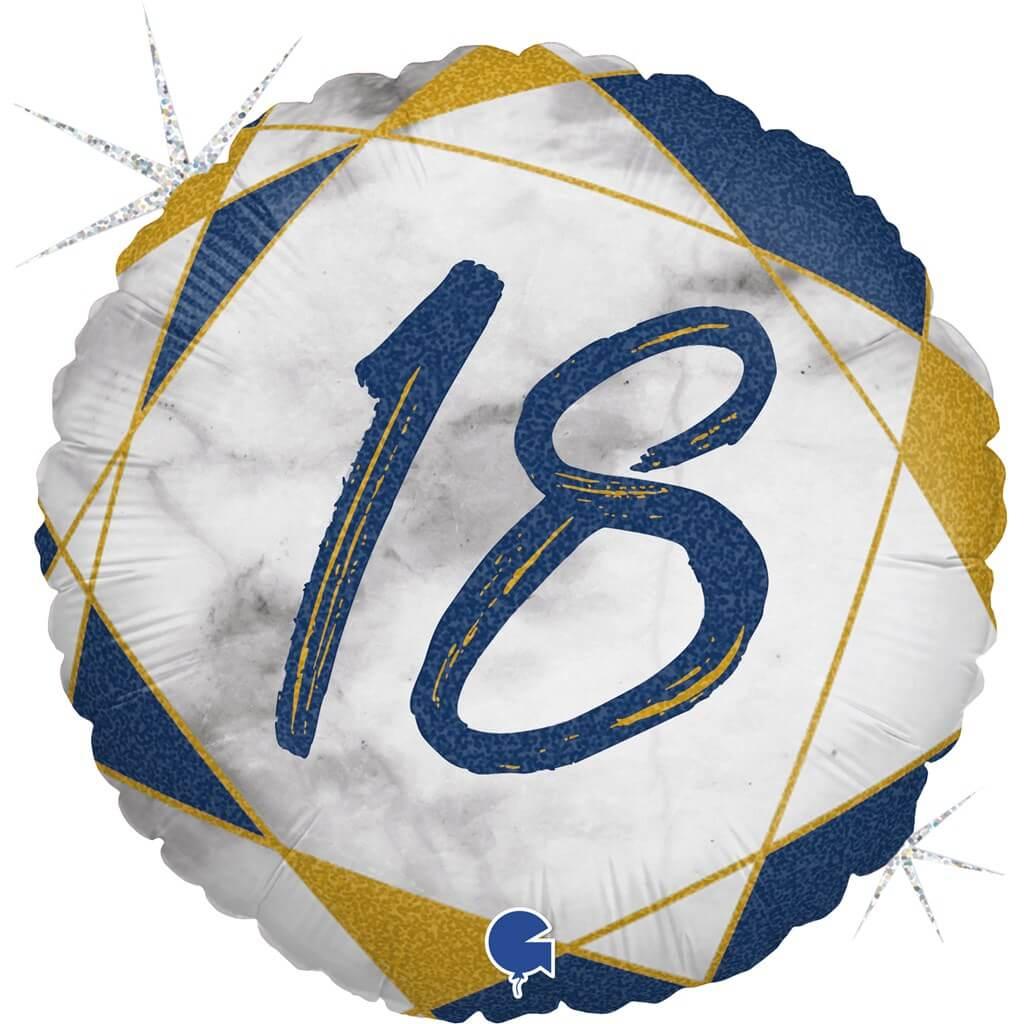Ballon Anniversaire Effet Marbre 18 Bleu 45cm