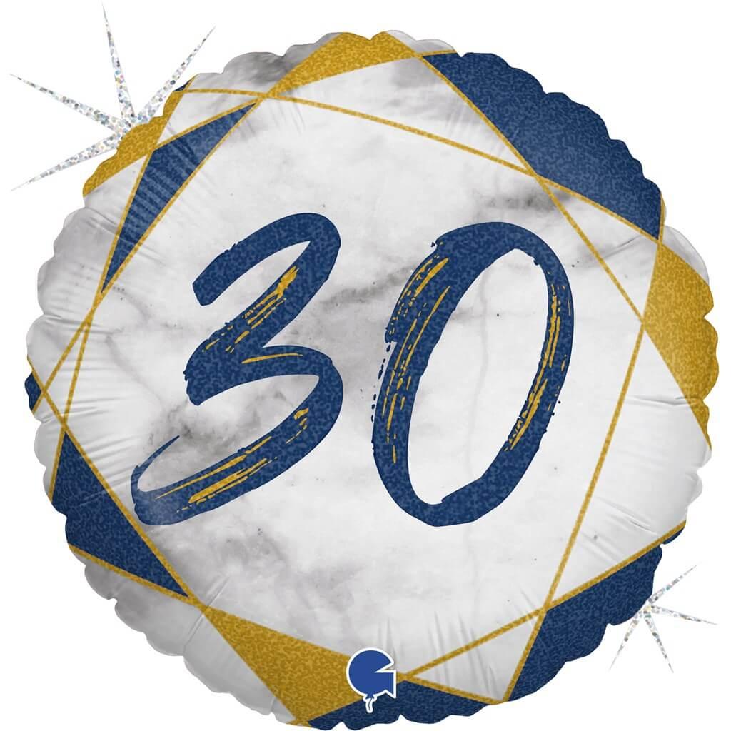 Ballon Anniversaire Effet Marbre 30 Bleu 45cm