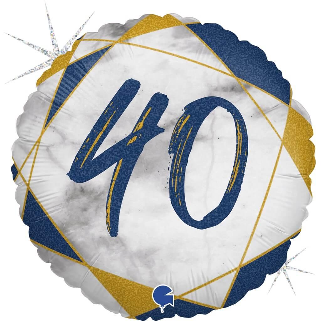 Ballon Anniversaire Effet Marbre 40 Bleu 45cm