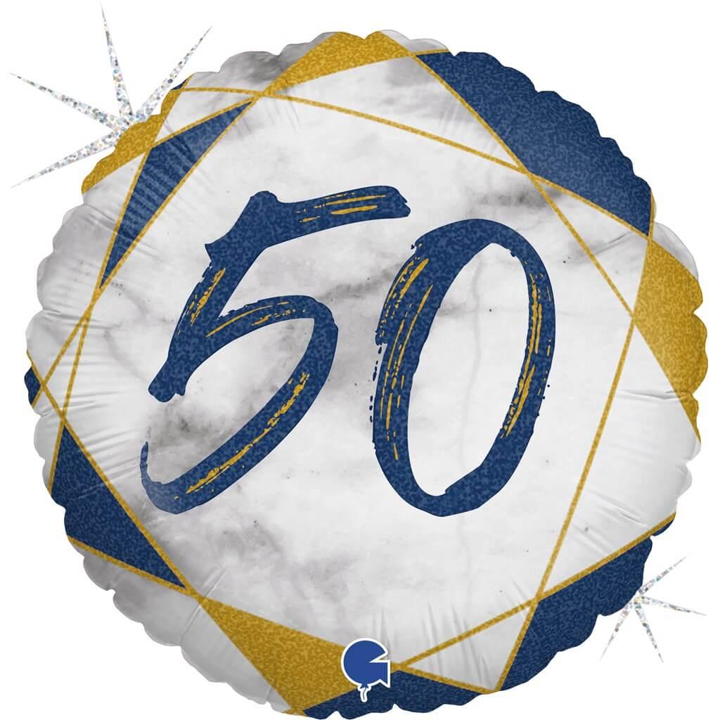 Ballon Anniversaire Effet Marbre 50 Bleu 45cm