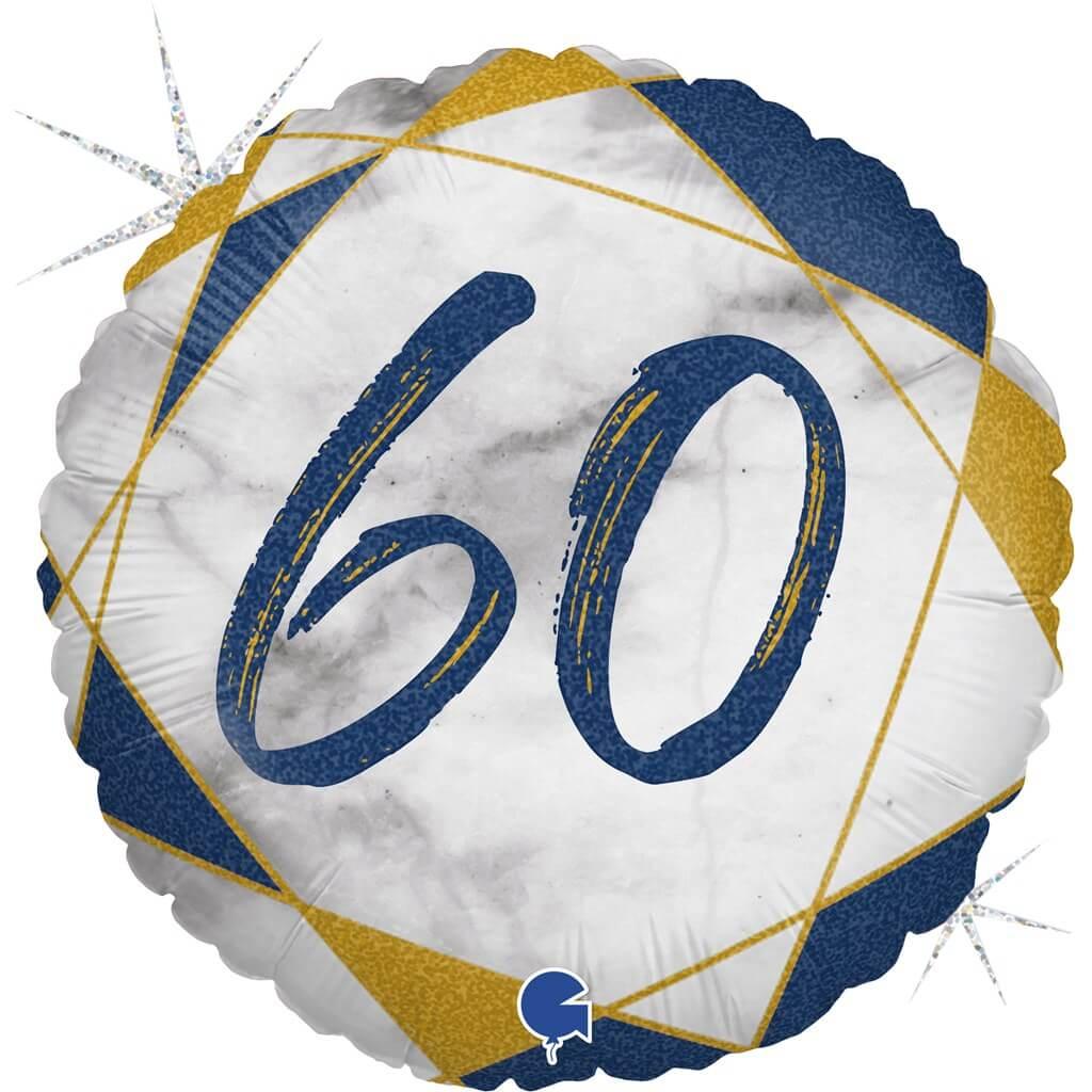 Ballon Anniversaire Effet Marbre 60 Bleu 45cm