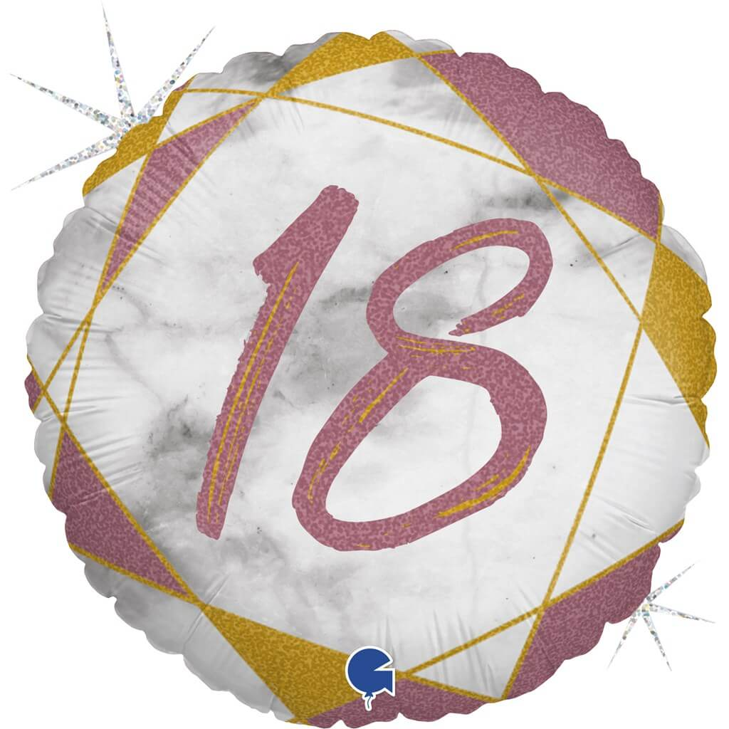 Ballon Anniversaire Effet Marbre 18 Or rose 45cm
