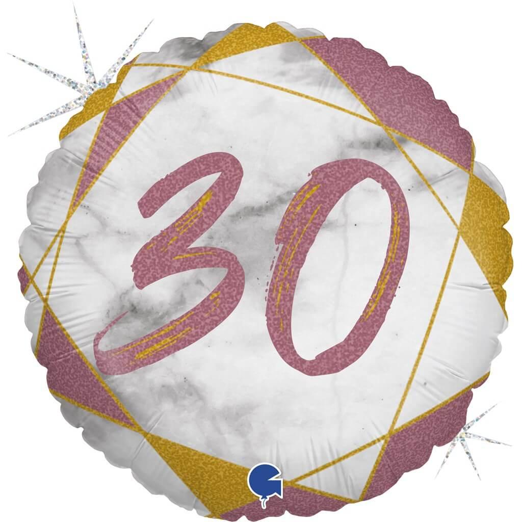 Ballon Anniversaire Effet Marbre 30 Or rose 45cm