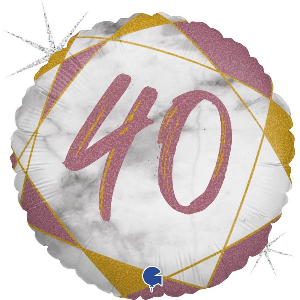 Ballon Anniversaire Effet Marbre 40 Or rose 45cm