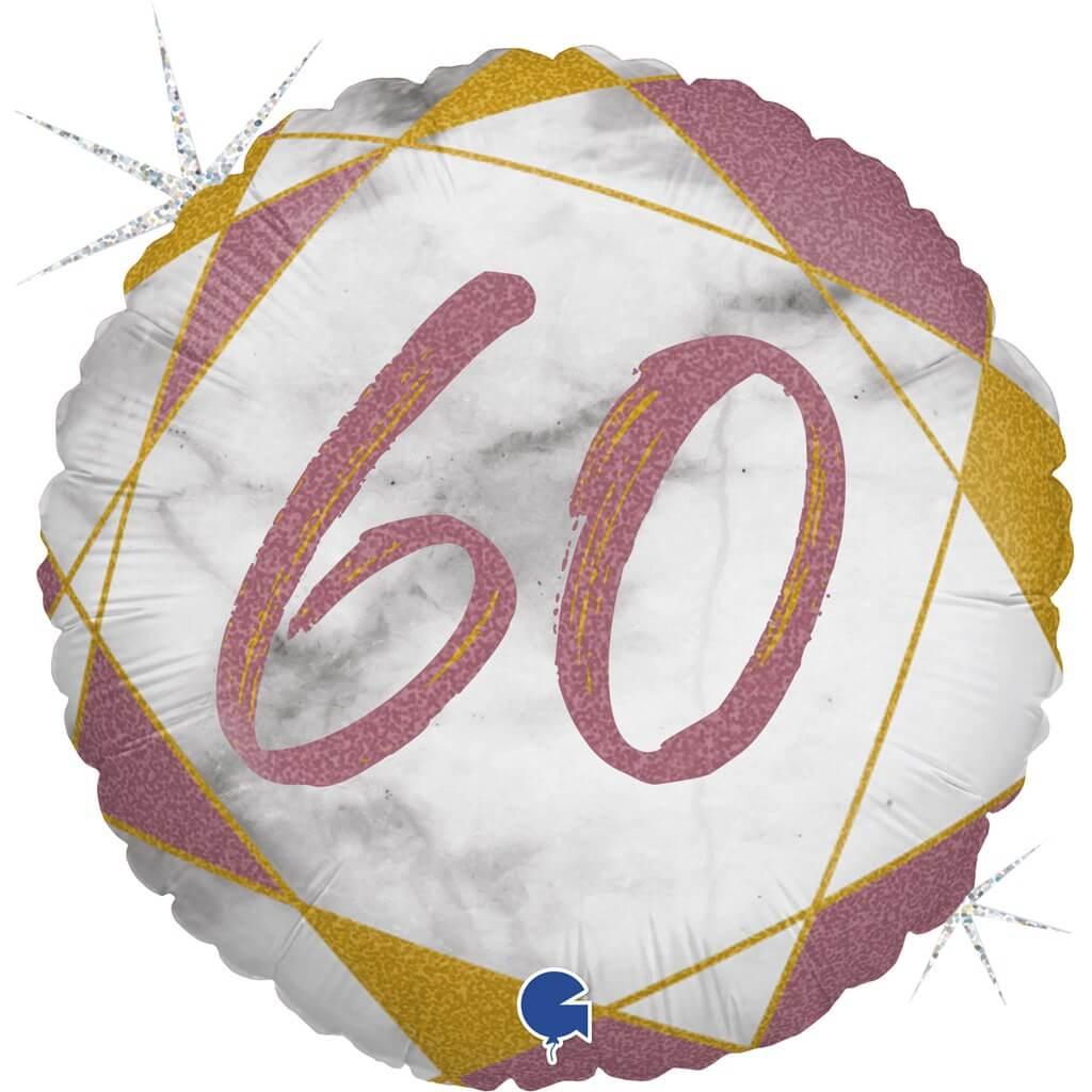 Ballon Anniversaire Effet Marbre 60 Or rose 45cm