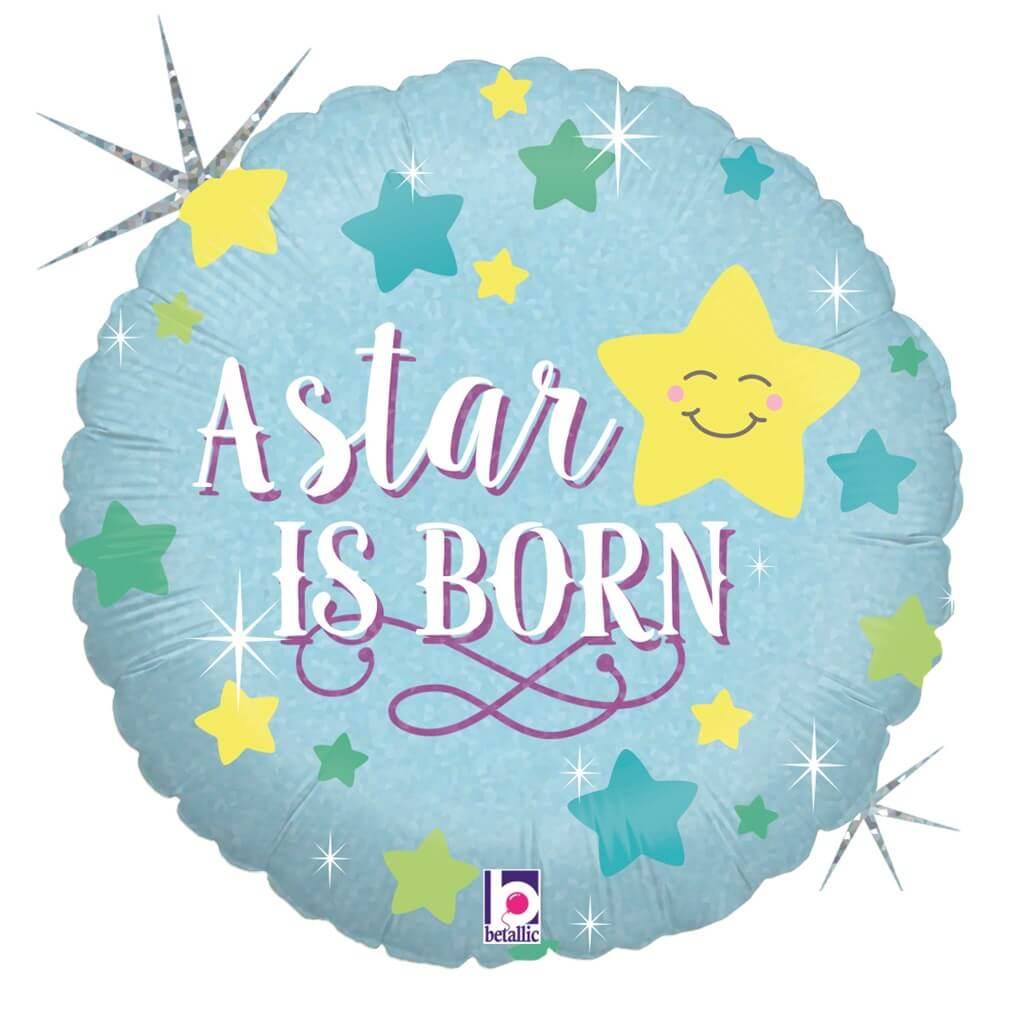 """Ballon bleu """"A Star Is Born"""" ø45cm"""