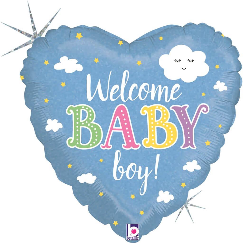 Ballon Coeur Welcome Baby Boy 45cm