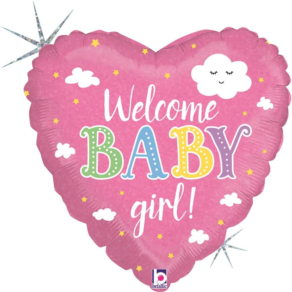 Ballon Coeur Welcome Baby Girl 45cm