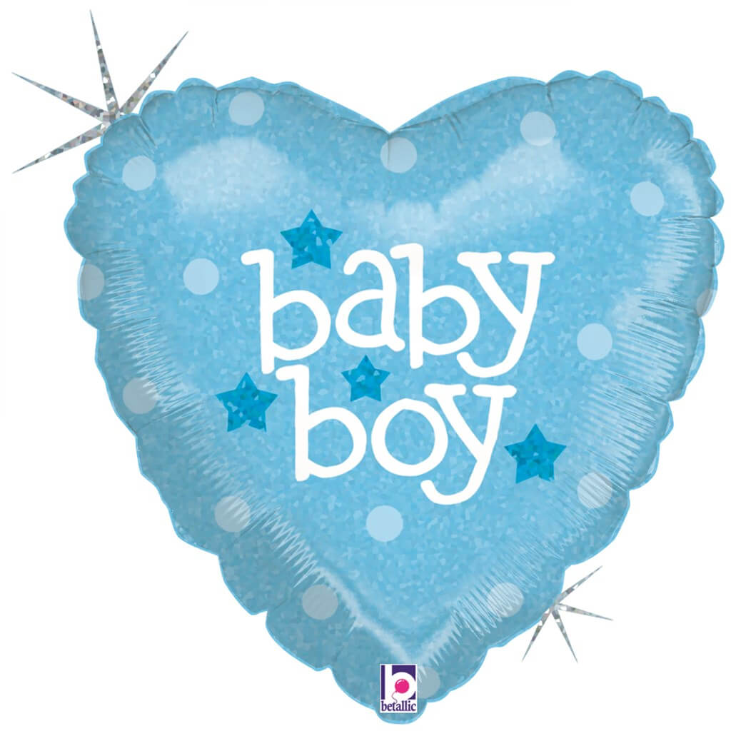 """Ballon coeur bleu """"Baby Boy"""" 45cm"""