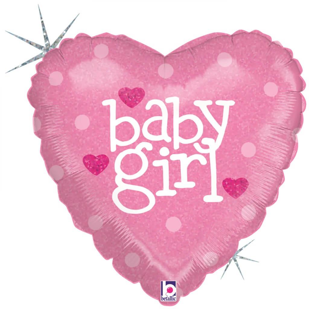 """ballon coeur rose """"Baby Girl"""" 45cm"""