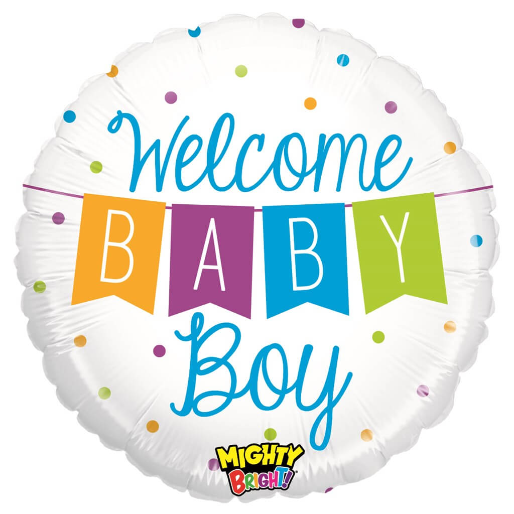 """Ballon """"Welcome Baby Boy"""" Rond ø53cm"""