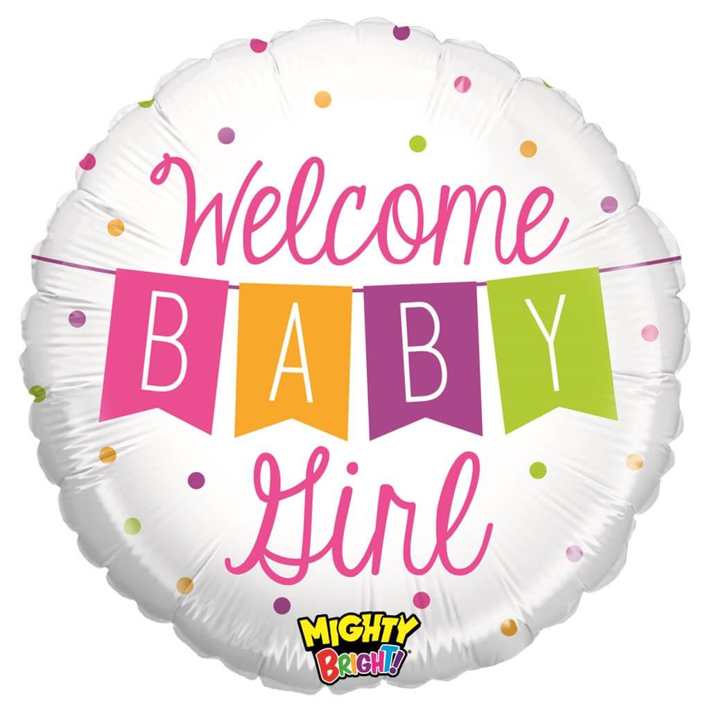 """Ballon """"Welcome Baby Girl"""" Rond ø53cm"""